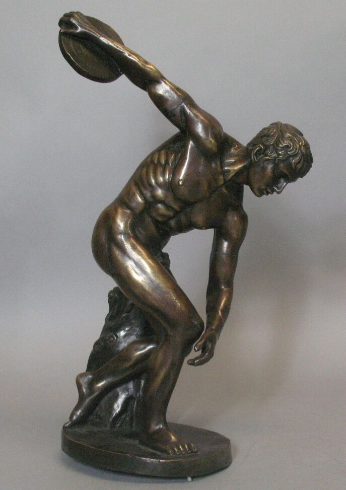 Antique Grand Tour Bronze Sculpture Of Discus Thrower C