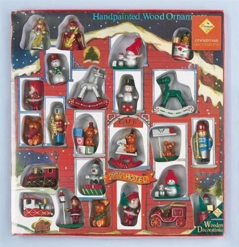 Multi Pack 24 Handmade Wooden Christmas Tree Decorations