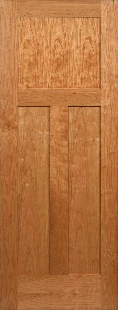 3 panel flat mission shaker cherry stain grade solid core interior wood doors ebay for Solid wood panel interior doors