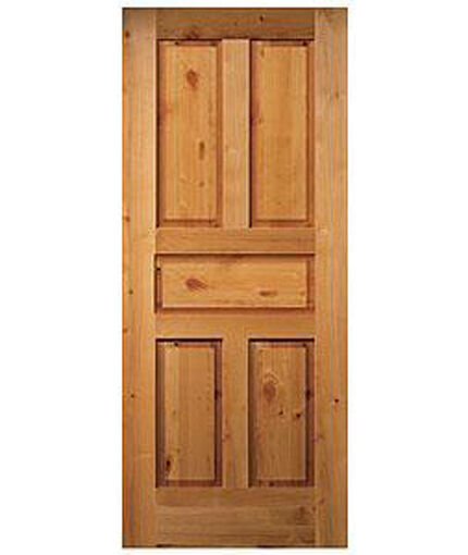5 panel raised authentic knotty alder stain grade solid core interior wood doors ebay for Solid wood panel interior doors