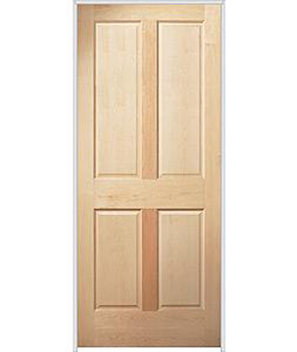 4 panel raised premium maple stain grade solid core wooden interior wood doors ebay for Solid wood panel interior doors