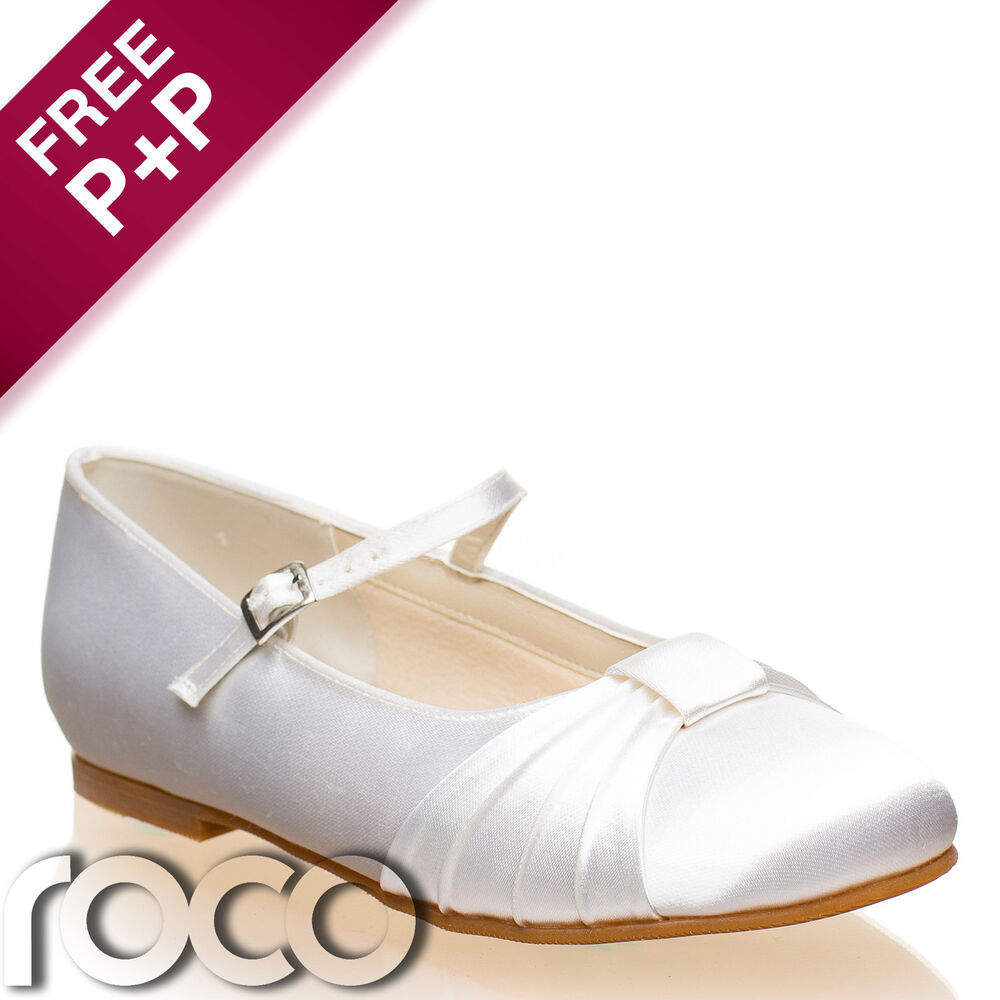 Girls White Communion Shoes, Flower Girl Shoes, Bridesmaid