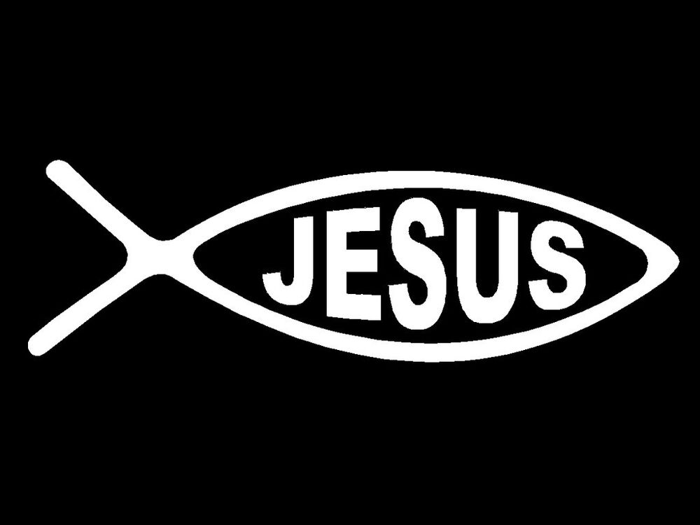 Jesus ick fish decal symbol religious faith car window for Fish symbol on cars