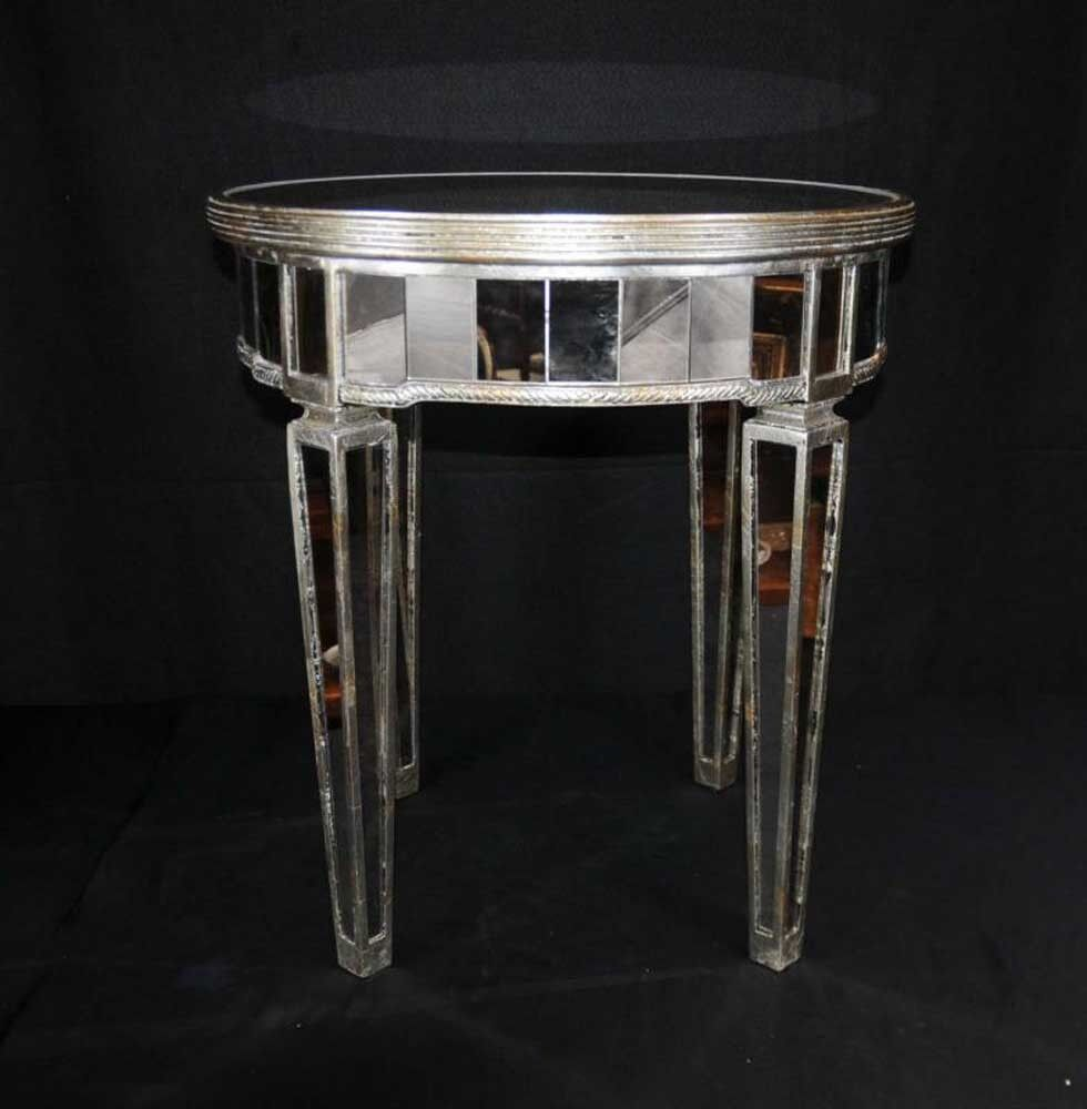Mirrored side table art deco cocktail table mirror for Mirrored coffee table and end tables