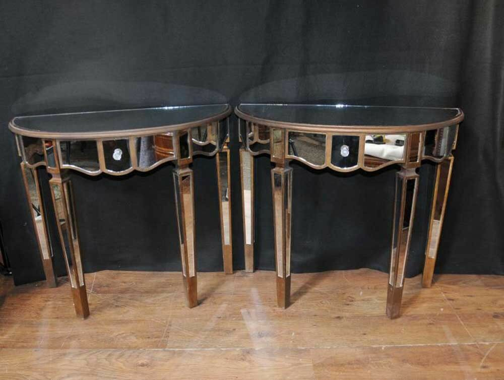 Pair mirror console tables mirrored hall tables deco for Miroir et console