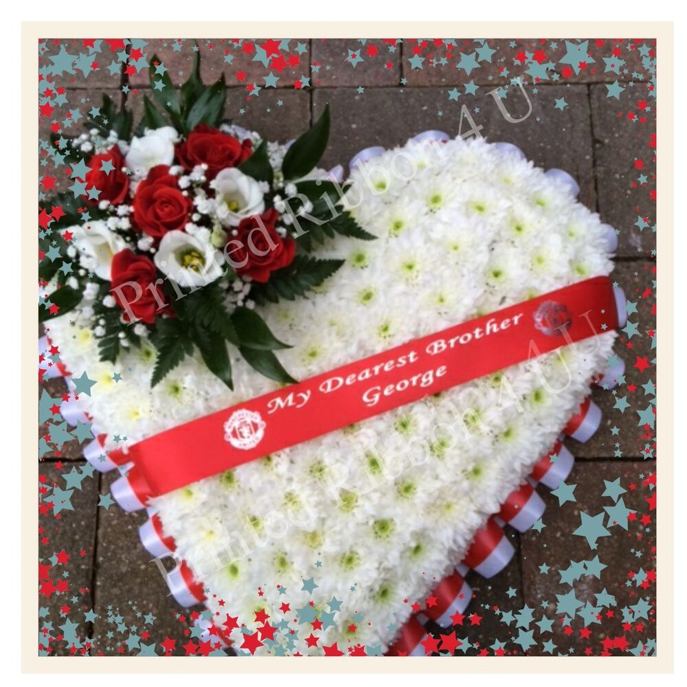 38mm Wide Luxury Personalised Funeral Wreath Ribbon Floral Memorial