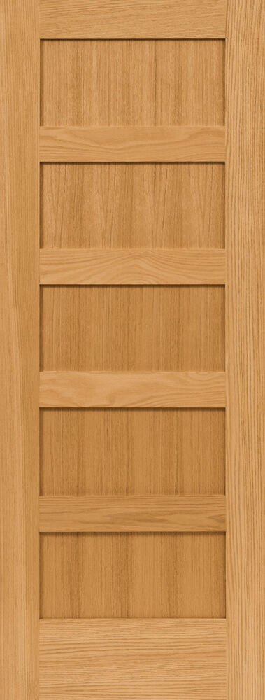 5 panel flat mission shaker red oak stain grade solid core for Flat solid wood door