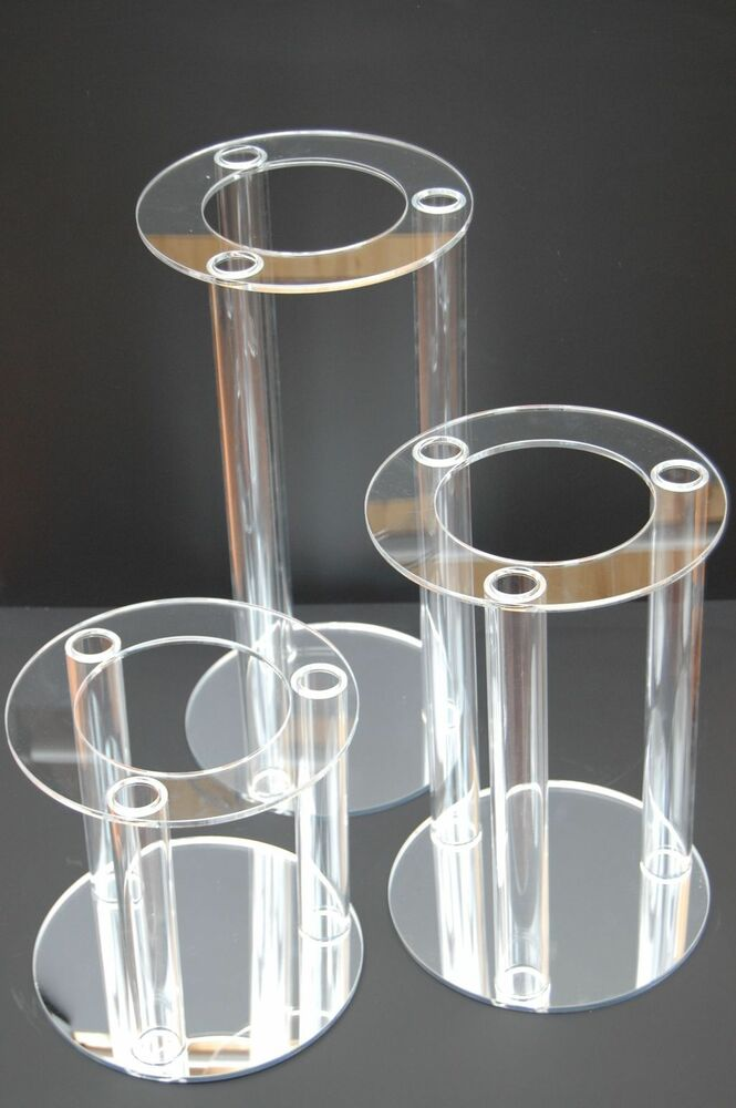 Cascade 3 Tier Large Acrylic Wedding Cake Display Stands
