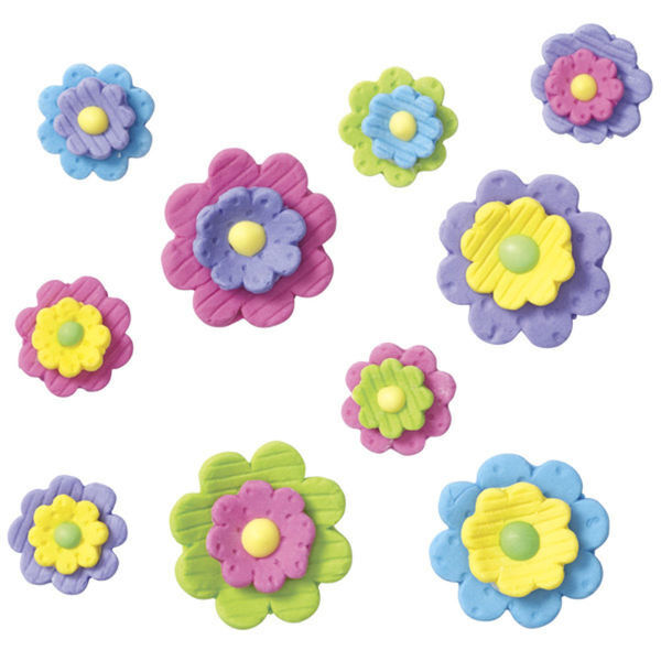 Multi-Colored Fflowers Icing Decorations 10ct from Wilton ...