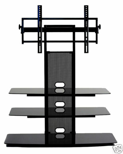 transdeco glass shelf tv stand w mount 42 48 50 55 60 65 70 inch lcd led tv new ebay. Black Bedroom Furniture Sets. Home Design Ideas