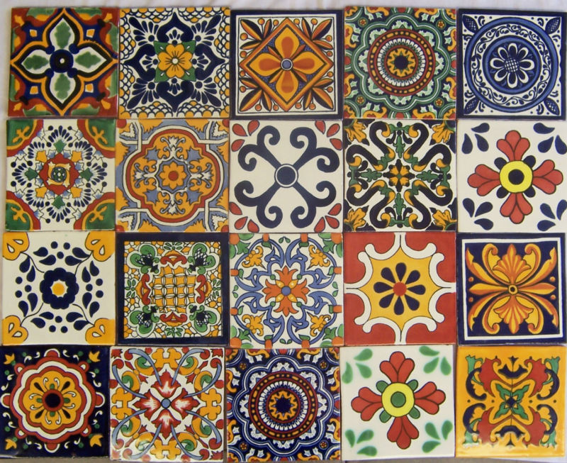 16 Pcs Mexican Talavera Handmade Tiles Ceramic Mixed