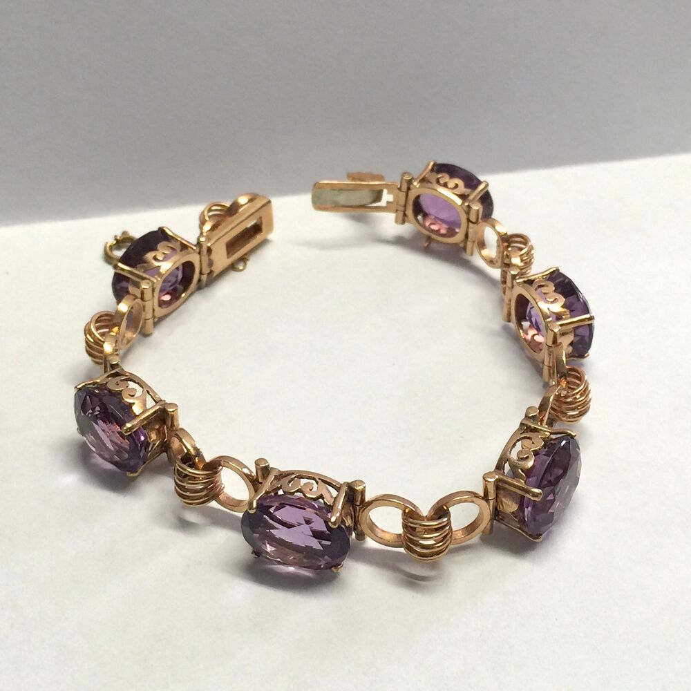 Victorian 14k Rose Gold 30ctw Purple Amethyst Hand Carved