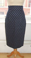 Baylis & Knight NAVY POLKA High Waisted PENCIL Skirt DITA Rockabilly 50's Pin Up