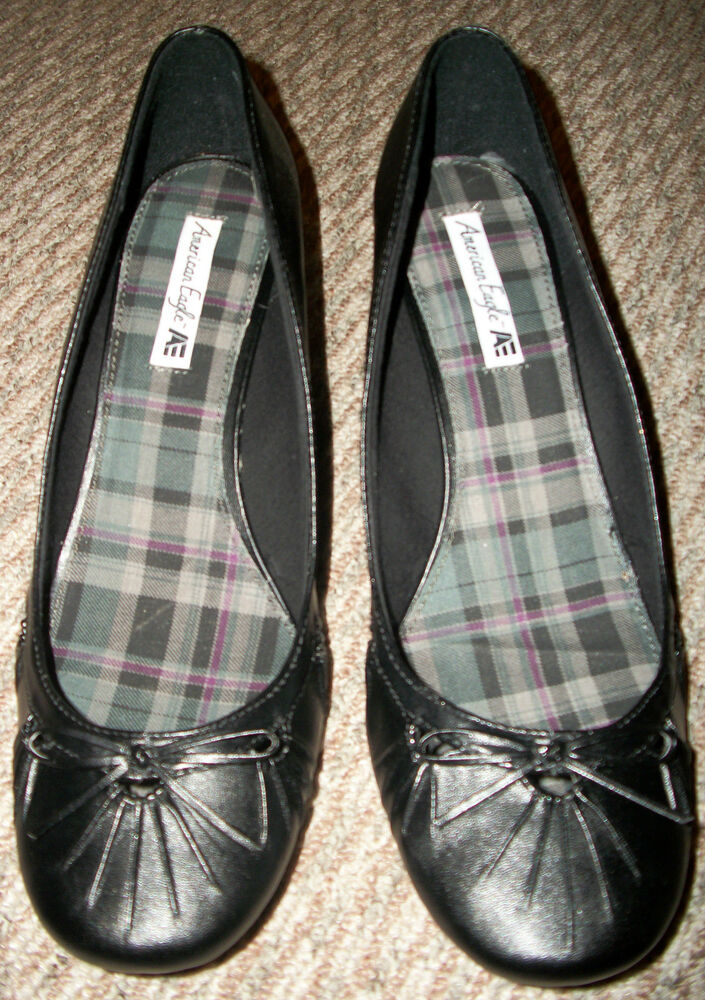 new american eagle black bow dress wedge shoes s