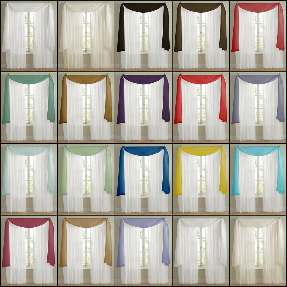 Plain voile net curtain scarves free p p multiple for Window voiles