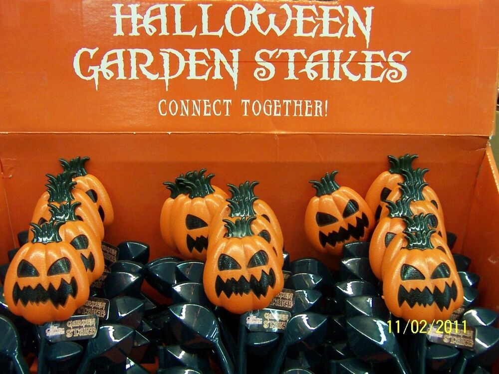 Pumpkin Garden Stakes Plastic Lawn Pathway Markers Halloween Party Decorations Ebay