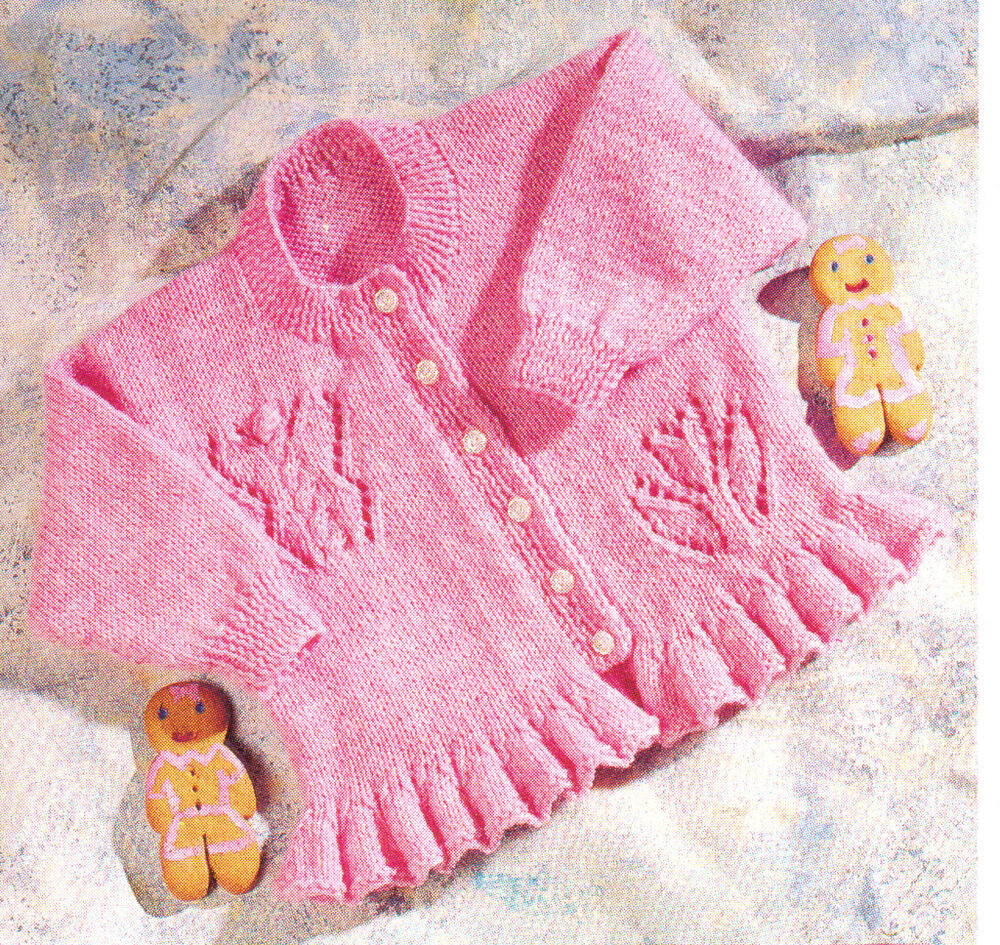 Knitting Pattern For Ruffle Baby Vest : Flower & Butterfly Baby Cardigan with Ruffle Edge DK Knitting Pattern 16&...