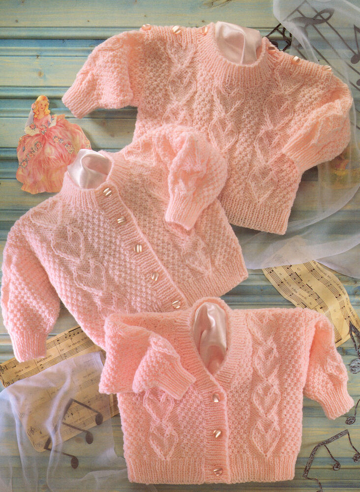 Heart Panel Textured Baby Cardigans & Sweater DK 16