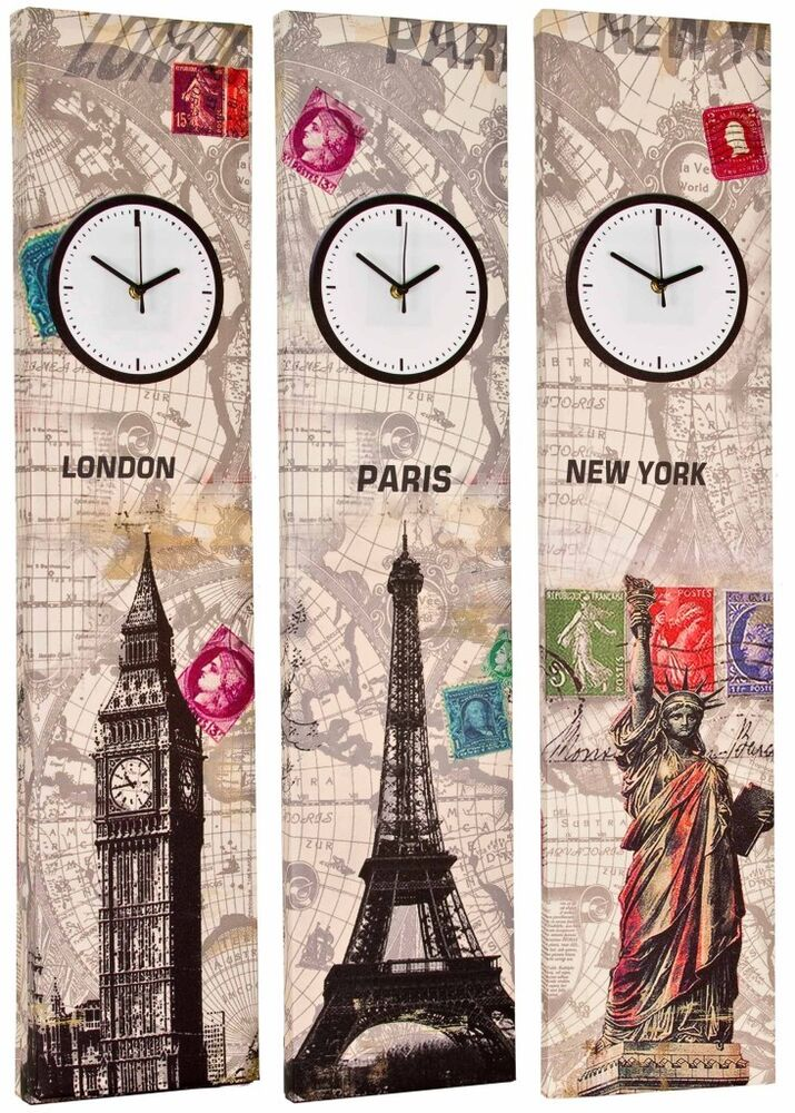 Canvas Wall Clock Design : Tall cm canvas working clock wall art picture retro