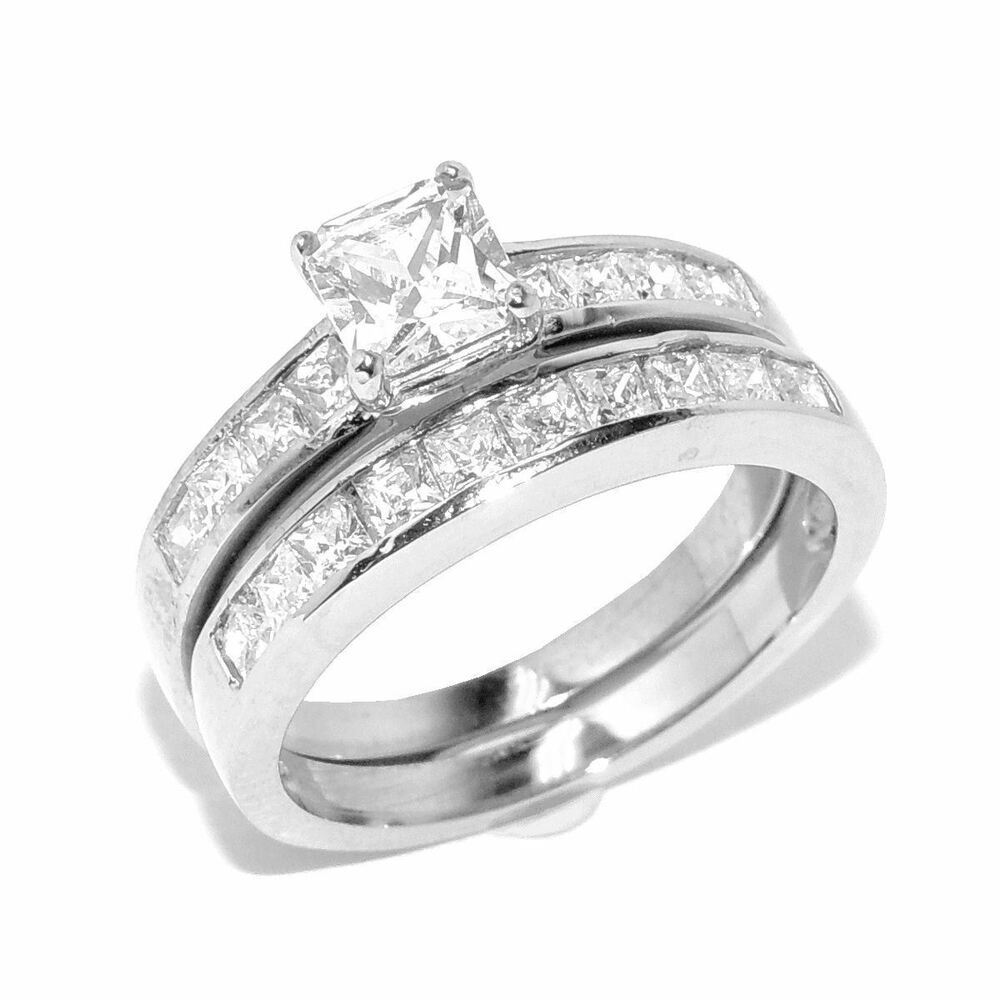 Stainless Steel 2.60ct Princess Cut Womens Wedding
