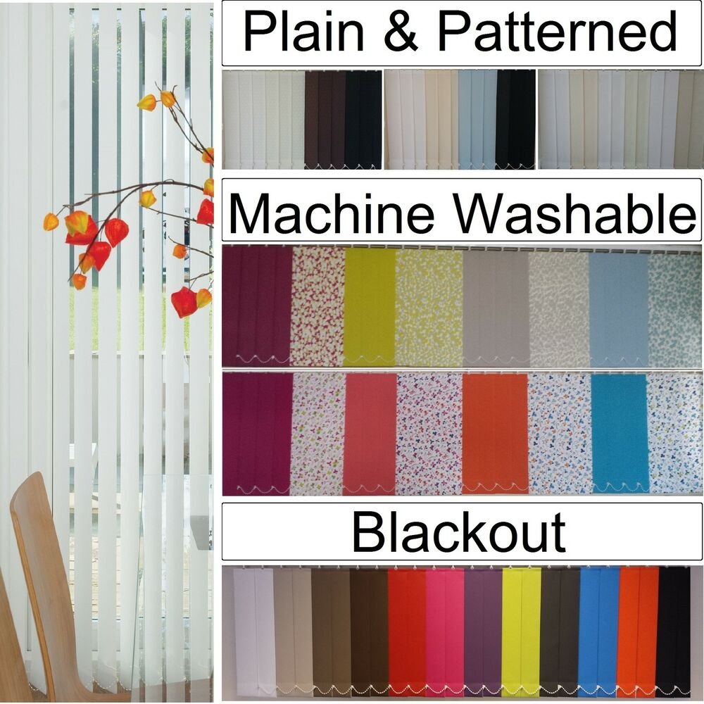 Replacement lapwing design blackout vertical blind slats in white or - From 99p 5 3 5 Vertical Blind Slats Louvres Black Out Machine Washable Plain Ebay