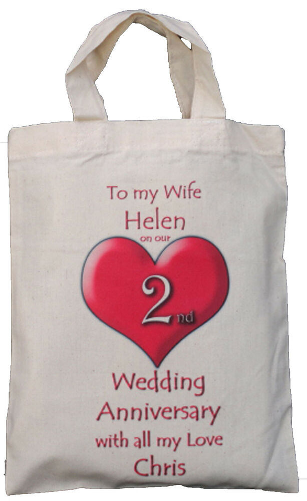 2nd Wedding Anniversary Gifts For Wife : ... 2ND WEDDING ANNIVERSARY TO MY WIFENATURAL COTTON GIFT BAG eBay
