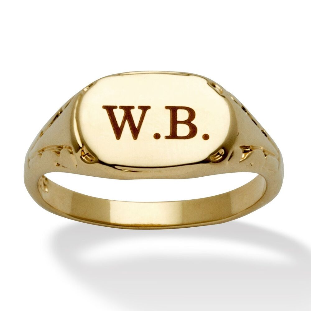 mens womens 14k gold plated personalized initial ring size