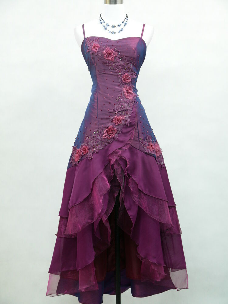 Cherlone satin dark purple prom lace bridesmaids ball for Evening gown as wedding dress