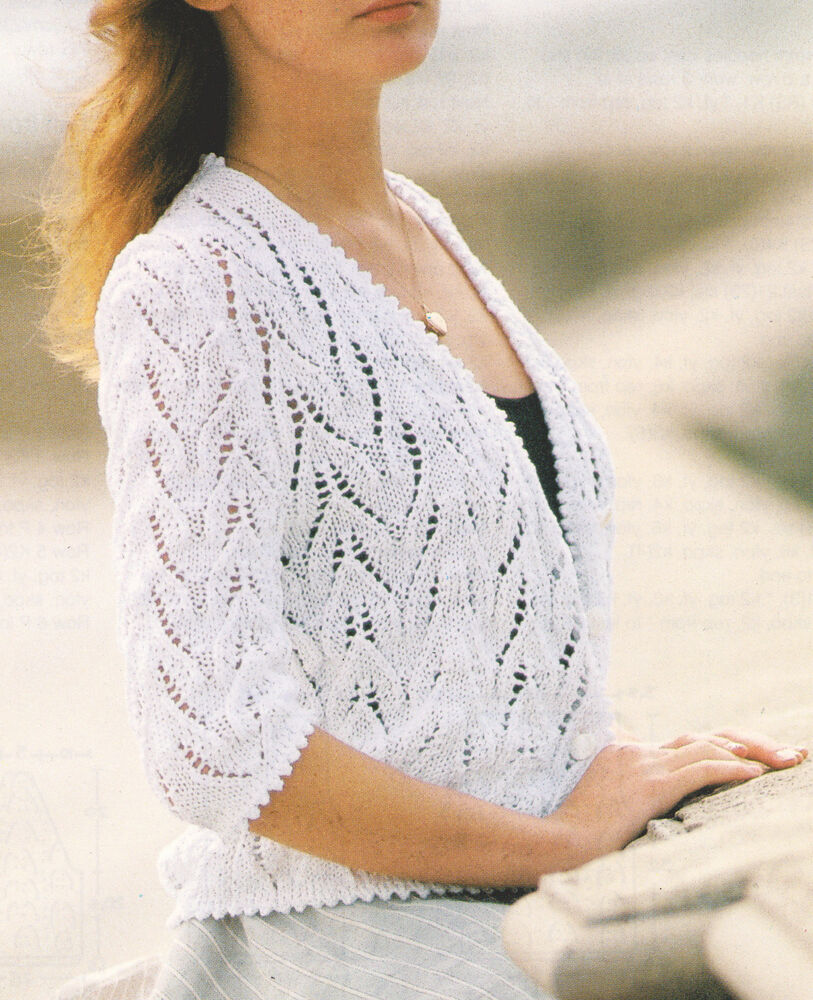 Lace Cardigan With Knitted Picot Edging Cotton Dk 34 Quot 36