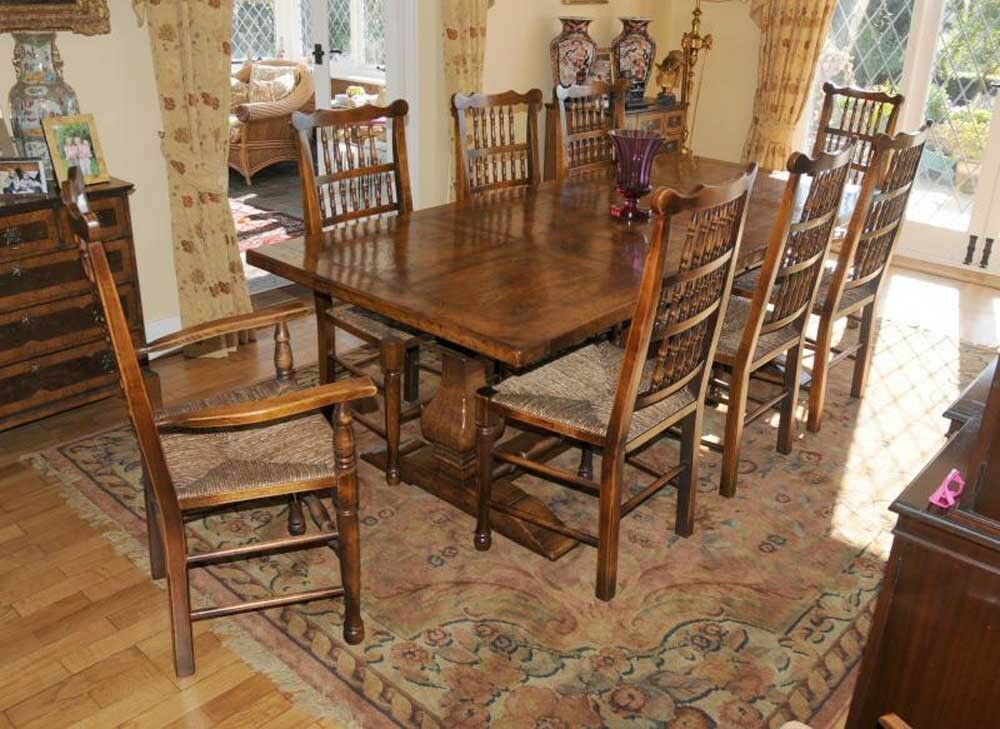 Farmhouse kitchen refectory table spindleback chair set for Farmhouse dining room table set