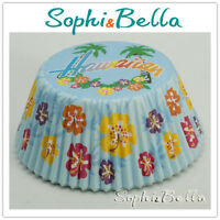 100 BLUE hawaiian BIRTHDAY baking cups cup cake liners muffin cases paper B113
