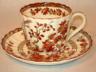 ~ GORGEOUS SPODE CHINA INDIAN TREE ORANGE RUST FLAT CUP AND SAUCER SCALLOPED ~~