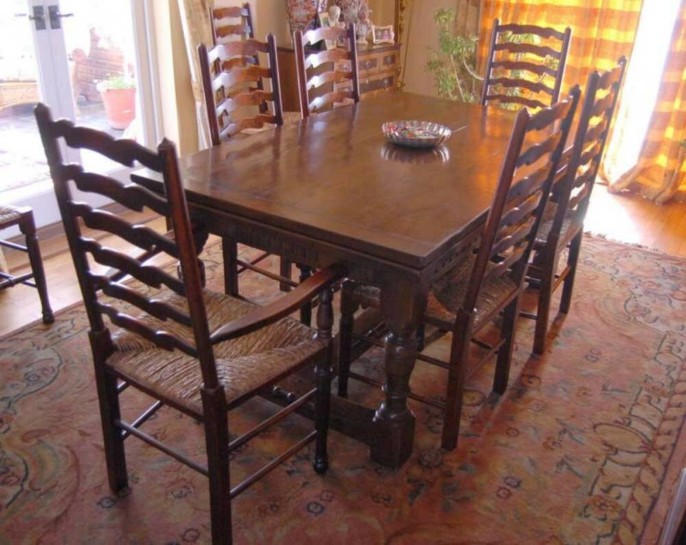 Oak refectory table set ladderback chairs kitchen dining ebay - Refinish contemporary dining room tables ...