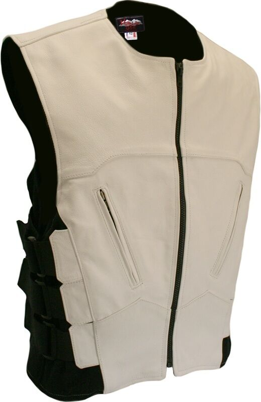 Made In Usa White Tactical Style Swat Look Leather Motorcycle Biker Club Vest Ebay
