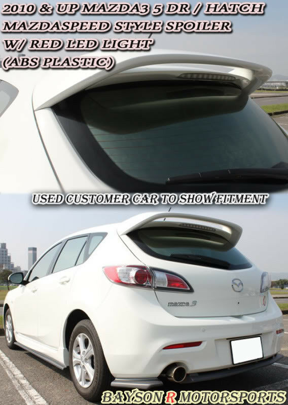 ms style rear roof spoiler wing abs fits 10 13 mazda 3. Black Bedroom Furniture Sets. Home Design Ideas