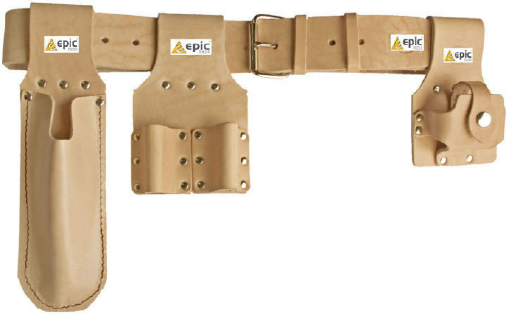 priory pro tan leather scaffold tool belt/spanner/level/tape frogs ...