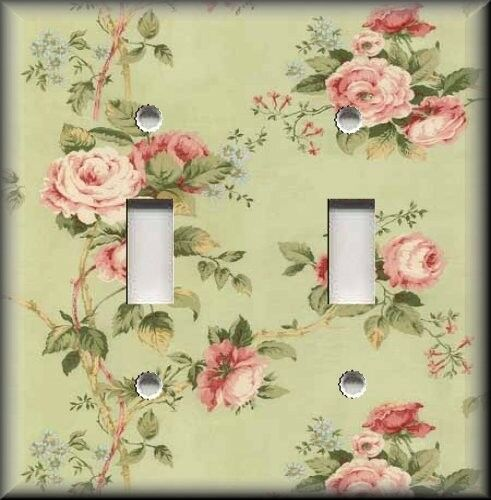 Light Switch Plate Cover Floral Pink Roses On Green