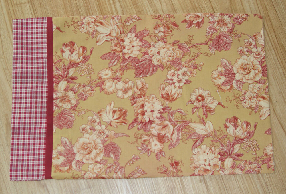 1 Red Gold Floral Toile Travel Size Pillowcase Sham