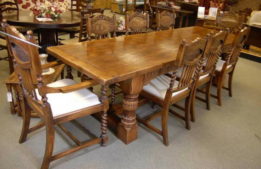 oak refectory table set william mary farmhouse chairs kitchen ebay. Black Bedroom Furniture Sets. Home Design Ideas