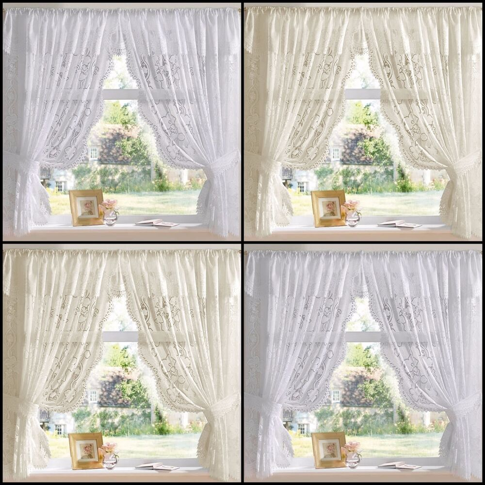 Andrea Jacquard Lace Net Curtain Set In White Or Cream