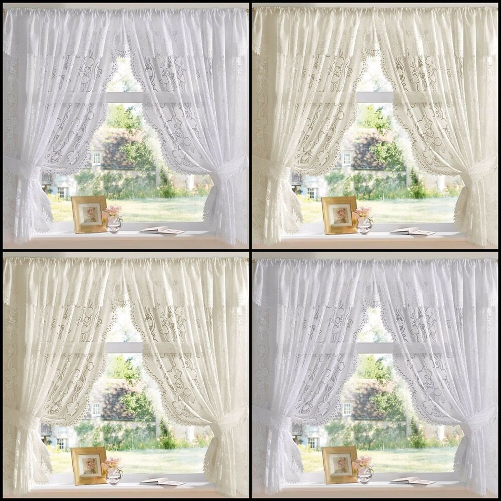... LACE NET CURTAIN SET - IN WHITE OR CREAM - MULTIPLE SIZES | eBay
