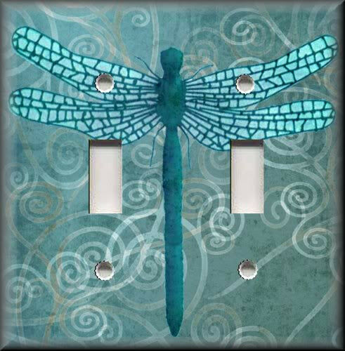 Light Switch Plate Cover Dragonfly With Aqua Blue Swirl