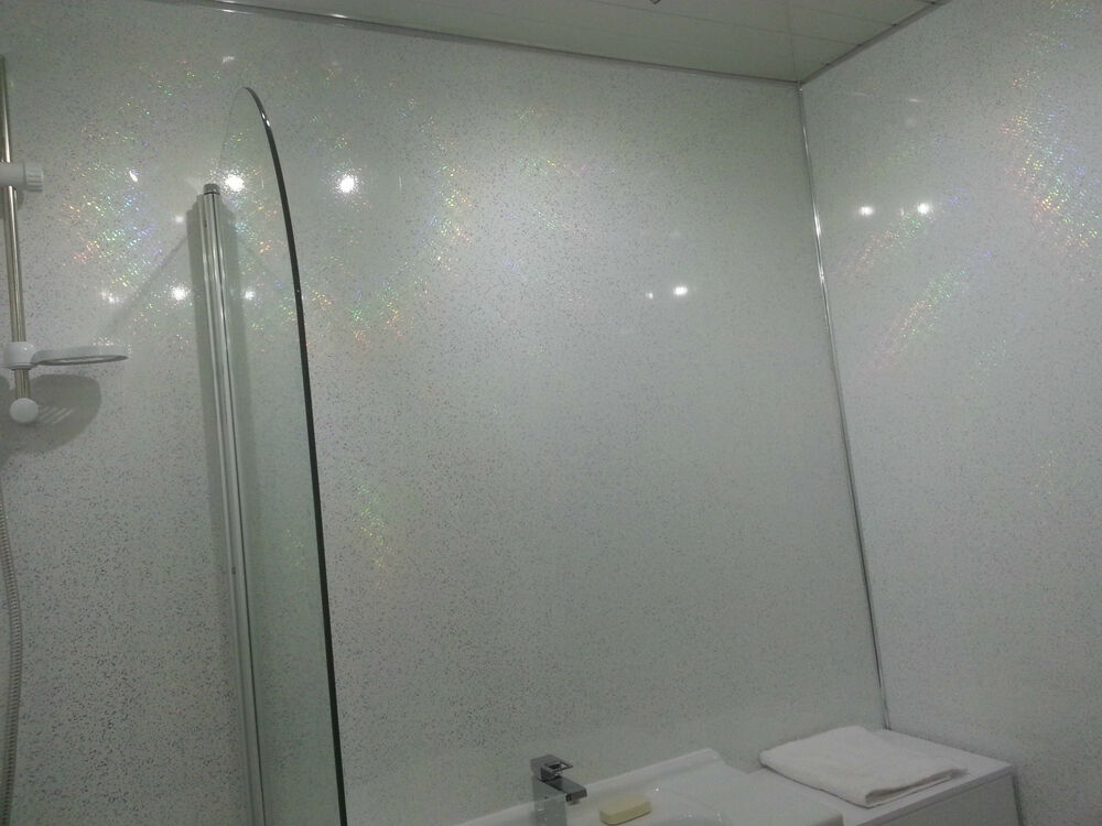 4 white sparkle bathroom wall panels upvc wet wall. Black Bedroom Furniture Sets. Home Design Ideas