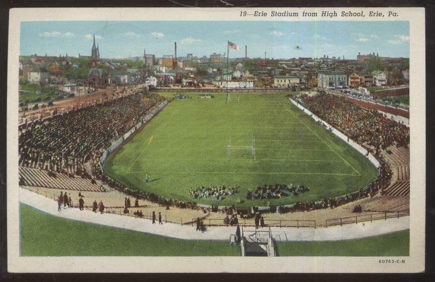 Postcard ERIE,Pennsylvania/PA High School Football Stadium ...