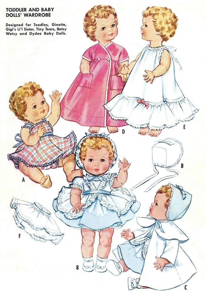 vintage baby doll clothes pattern 2349 sizes 9 quot 12