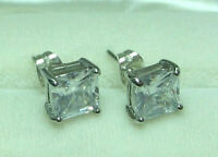 MEN White GOLD PLATED stud earrings with Princess Cut CZ
