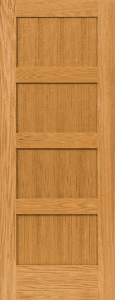 4 panel flat mission shaker red oak stain grade solid core interior wood doors ebay for Solid wood panel interior doors