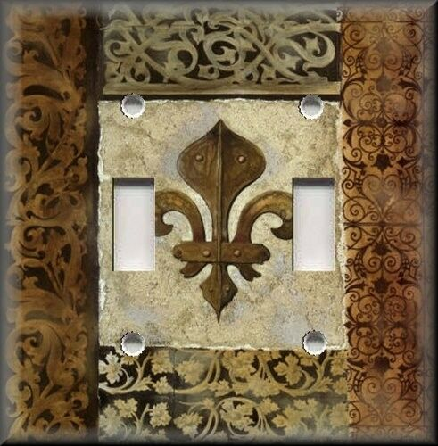Metal Light Switch Plate Cover French Fleur De Lis Brown