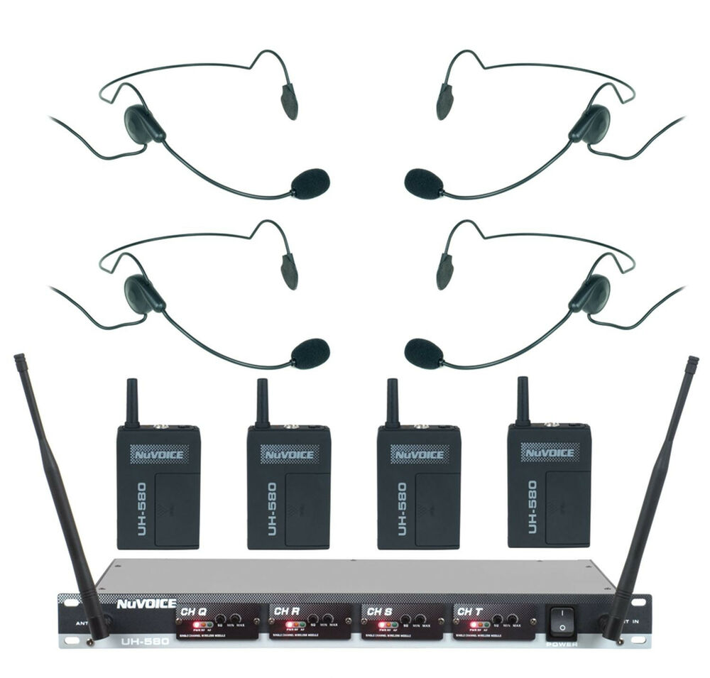 vocopro nuvoice uh580 uhf 4 channel wireless headset microphone system ebay. Black Bedroom Furniture Sets. Home Design Ideas