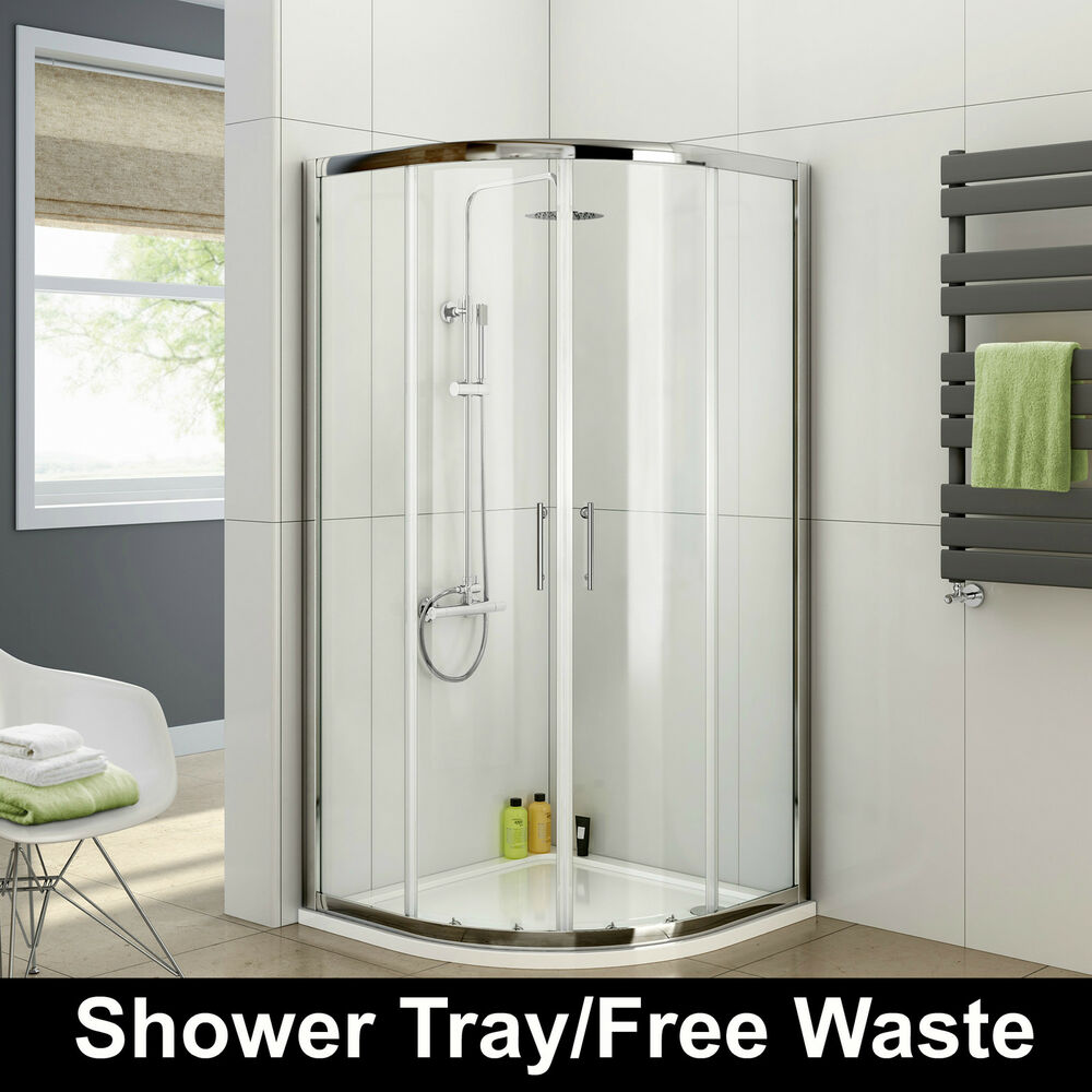 Quadrant Shower Enclosure Tall Walk In Cubicle Glass Door Tray And Free Waste Ebay